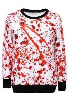 Verisimilar Drop of Blood Print Round Neck Long Sleeve Chic Sweatshirts