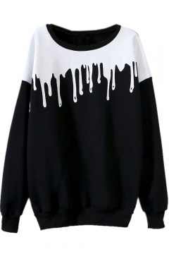 Women's New Fashion Splicing Print Long Sleeve Pullover