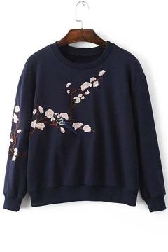 Chic Flower Embroidery Long Sleeve Sweatshirts