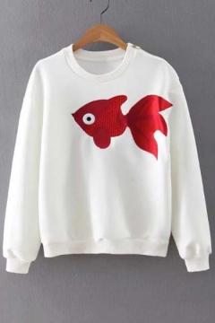 Women Round Neck Long Sleeve Fish Embellish Loose Sweatshirts