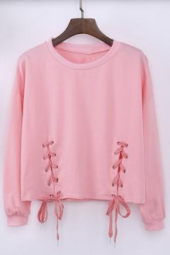 Women's Casual Solid Long Sleeve Crop Top Sweatshirt