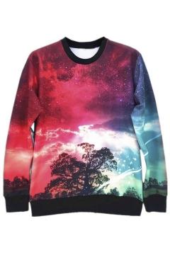 Women's Round Neck Tie Dye Galaxy Printed Sweatshirt T-shirts