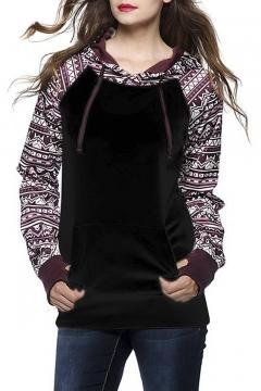 Women's Fall Winter Long Sleeve Floral Print Pullover Hoodie Sweatshirt