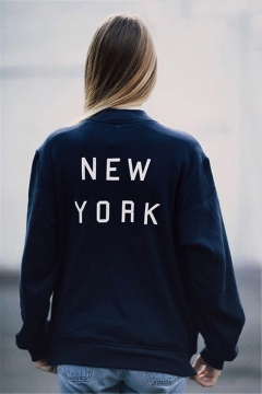 Letter Print in Back Zipper Placket Stand-Up Collar Long Sleeve Zip Up Sweatshirt