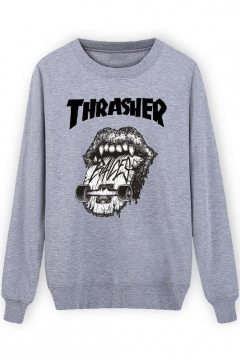Hip-Hop Style Cartoon Print Round Neck Casual Sweatshirt