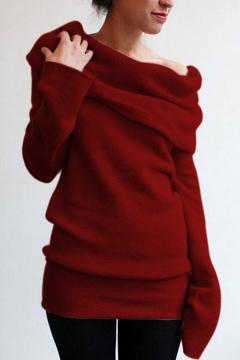 Fashion Mock Neck Plain Long Sleeve Pullover Sweatshirt