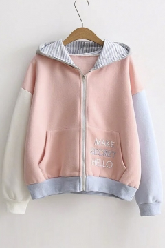 Dropped Contrast Long Sleeve Striped Hooded Embroidery Letter Pockets Zip Up Hoodie