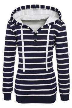 Drawstring Hooded Striped Pattern Long Sleeve Elastic Cuffs Hoodie