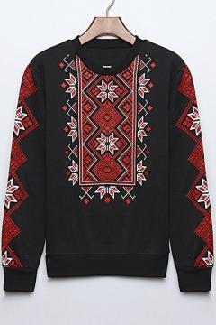 Ethnic Floral Print Round Neck Long Sleeve Girls' Sweatshirt