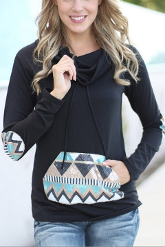 Hooded Elbow Patchwork Long Sleeve Hoodie with a Patchwork Kangaroo Pocket