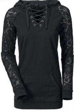 Lace Insert Raglan Long Sleeve Hooded Drawstring V-Neck Hoodie
