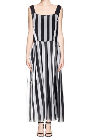 black and white vertical stripe tie waist maxi dress