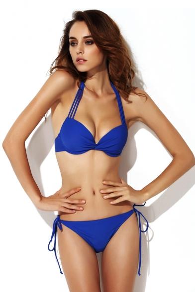 Blue Twist Front Tie Back Bikini Set Beautifulhalo Com