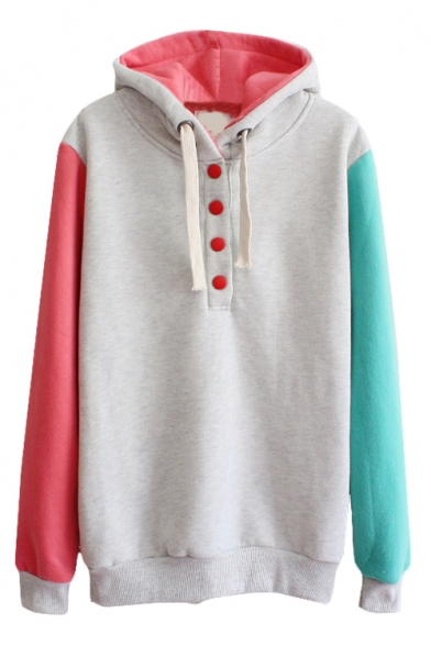 Special Color Block Button Front Hoodie With Long Sleeve Beautifulhalo Com