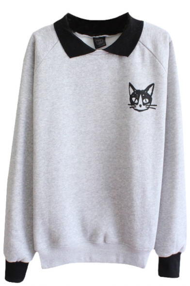 Cat Pattern Long Sleeve Sweatshirt With Contrast Collar