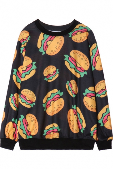 Cartoon Hamburger Print Round Neck Long Sleeve Sweatshirt