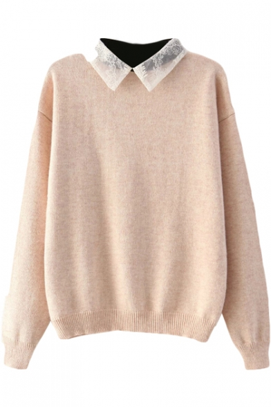 Plain Knitted Sweater With Lace Peter Pan Collar