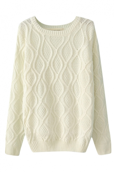 Plain Diamond Pattern Cable Knitted Sweater with Round Neck - Beautifulhalo.com