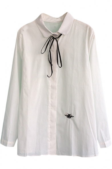 Embroidered peter pan collar long sleeve shirt with ribbon