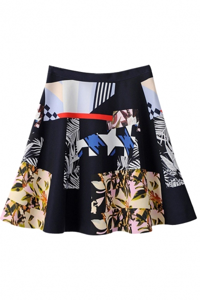 high waist geometric pleated fit and flare skirt