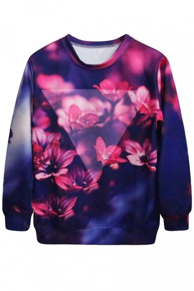 Dark Blue Background Plum Flower Print Sweatshirt