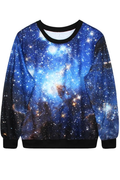 Blue Starry Sky Print Sweatshirt