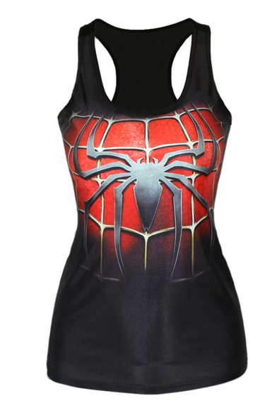 Spider Man Print Black Tanks