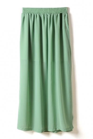 green elastic waist chiffon split hem maxi skirt