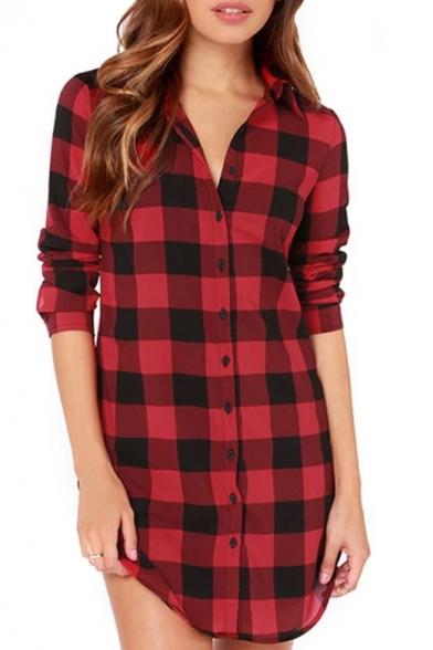 Red black plaid long sleeve midi shirt dress for Red plaid dress shirt