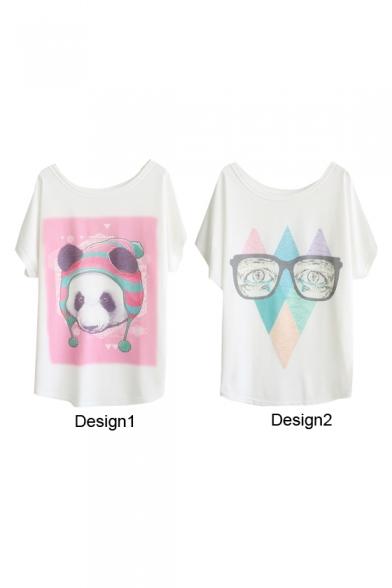 Cartoon Panda Wearing Hat&Glasses Print White Tee