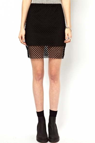black mesh insert mini pencil skirt beautifulhalo