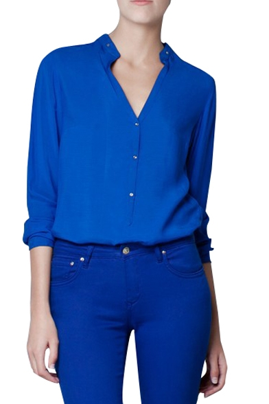 Royal Blue V Neck Stand Collar Shirt