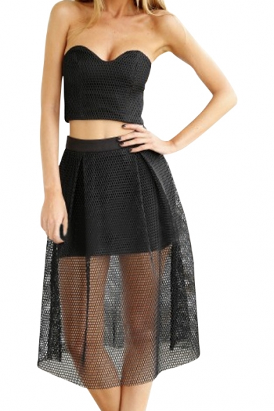 black strapless crop top with midi skirt beautifulhalo