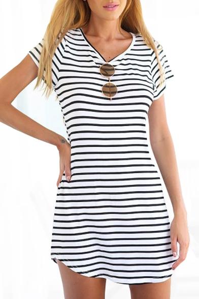 V Neck Short Sleeve Striped T Shirt Dress Beautifulhalo Com