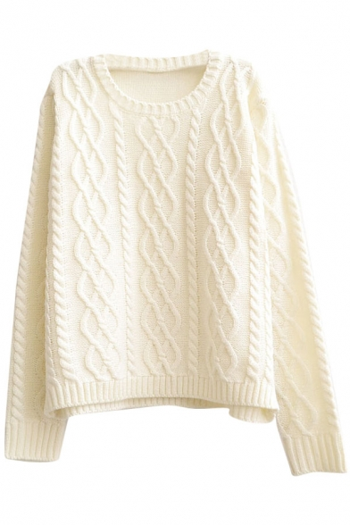 Plain Vintage Diamond Pattern Cable Knitted Round Neck Sweater - Beautifulhal...