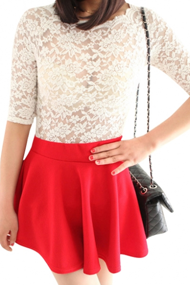 plain high waist pleated fit flare skirt beautifulhalo