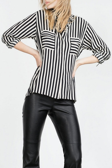 Stripe Lapel Double Pocket Long Sleeve High Low Shirt