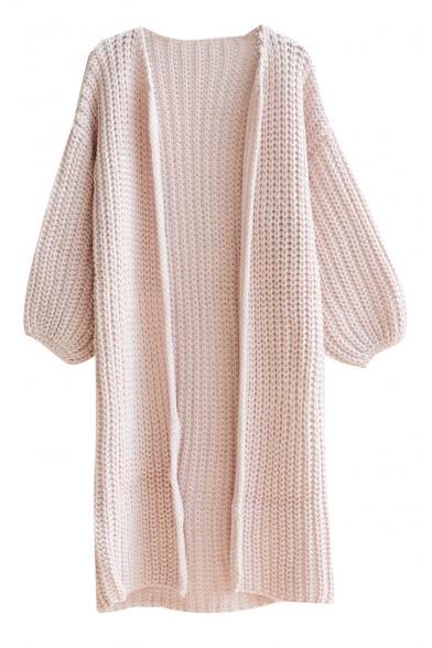 Plain V-Neck Open Front Puff Sleeve Longline Cardigan