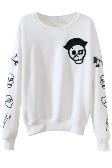 Skull Print Round Collar Long Sleeve Sweatshirt