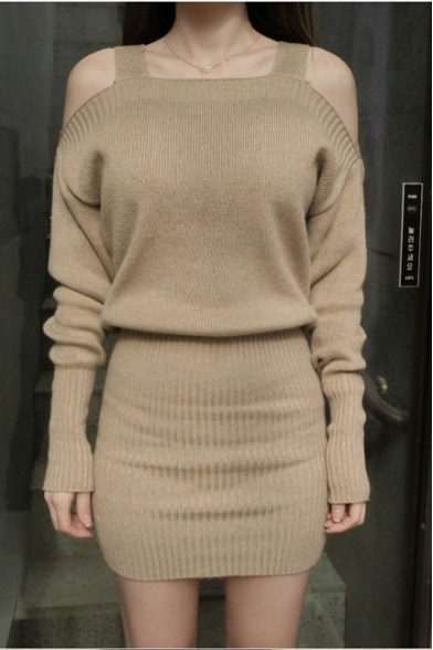 Cold Shoulder Long Sleeve Plain Knit Sweater Dress