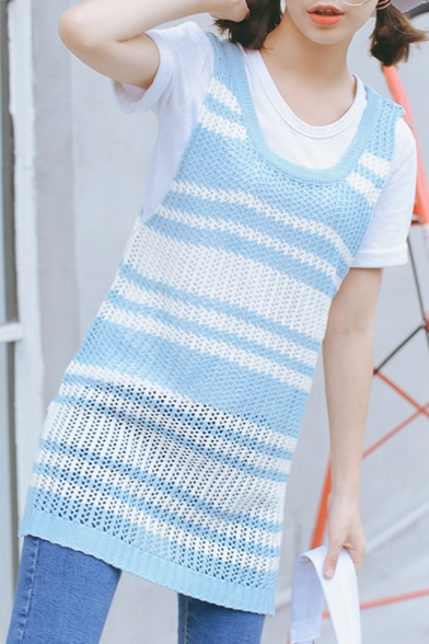 Stripe Scoop Neck Sleeveless Knit Tunic Vest