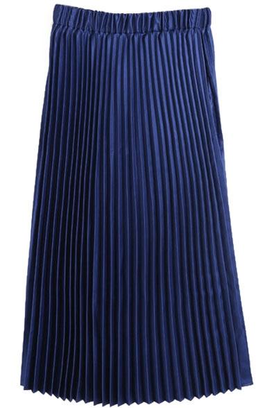 elastic plain pleated maxi a line skirt beautifulhalo