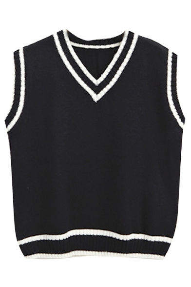 Color Black Trim V-Neck Knit Vest