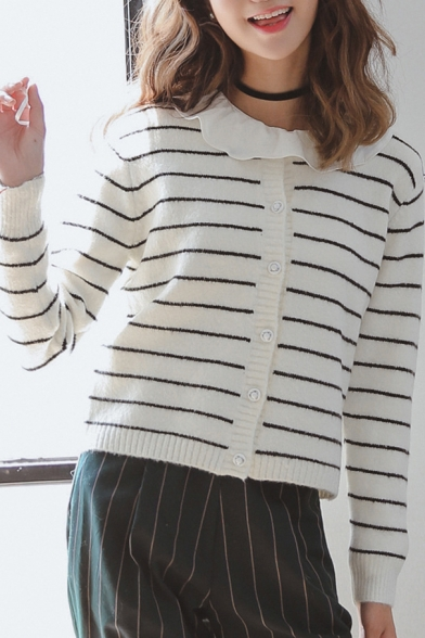 White Long Sleeve Single Breast Crop Cardigan
