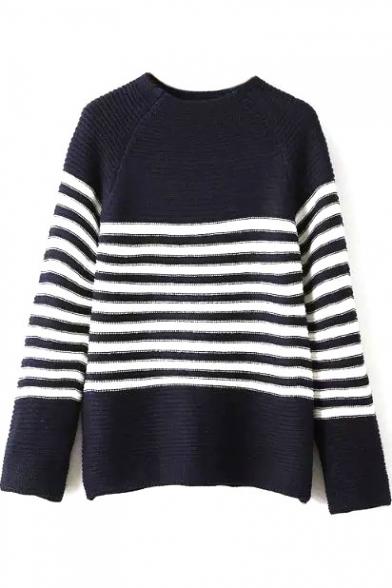 Round Neck Raglan Sleeve Stripe Trims Sweater