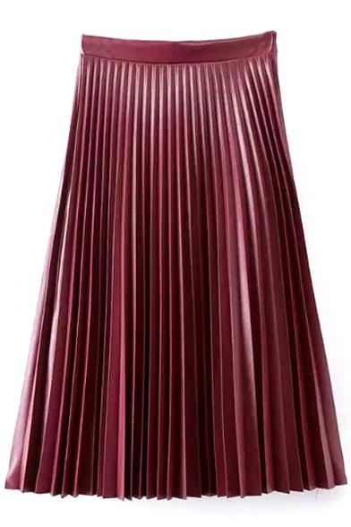 plain high waist pleated a line maxi pu skirt