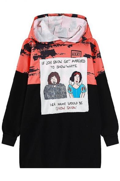 Letter & Cartoon Print Hooded Long Color Block Sweatshirt
