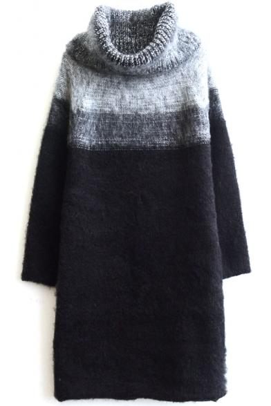 Turtleneck Ombre Color Block Long Raglan Sleeve Tunic Sweater