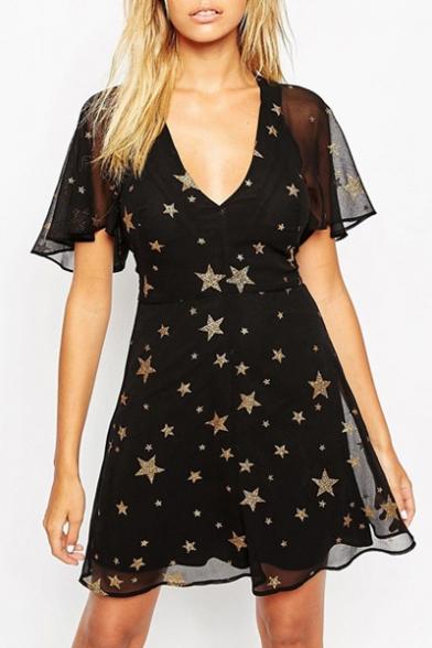 V Neck Star Print Ruffle Short Sleeve Black Chiffon Dress