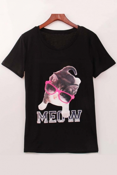 Cute Meow Glasses Cat Print Round Neck Short Sleeve Tee
